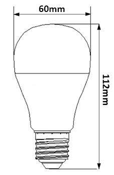 Dimensions ampoule LED 8.5W