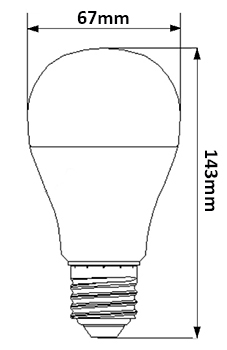 Dimensions ampoule LED 18W