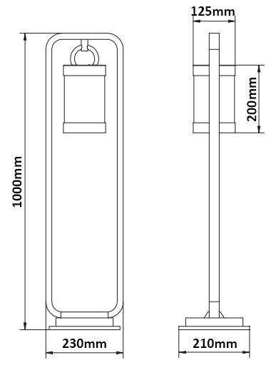 Dimensions borne TRIO Sambesi 1m