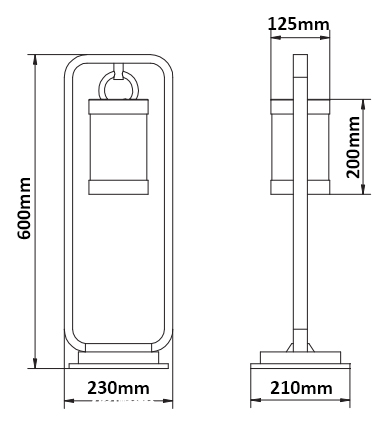Dimensions borne TRIO Sambesi 0.60m