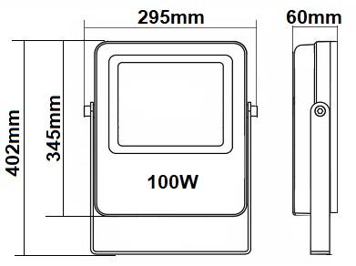 Dimensions projecteur 100W RGW CW WW