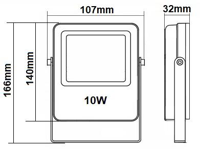 Dimensions projecteur 10W RGW CW WW