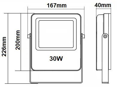 Dimensions projecteur 30W RGW CW WW