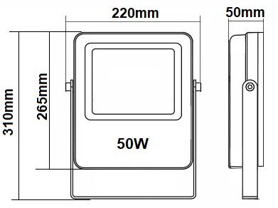 Dimensions projecteur 50W RGW CW WW