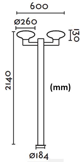 Dimensions lampadaire FARO BLUB'S 2 crosses