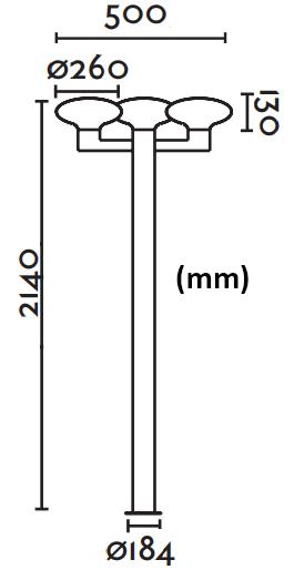 Dimensions lampadaire FARO BLUB'S 3 crosses