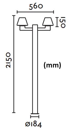 Dimensions lampadaire FARO MISTU 2 crosses