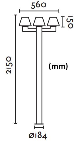Dimensions lampadaire FARO MISTU 3 crosses