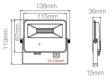 Dimensions projecteur BENEITO SKY Sensor 10W