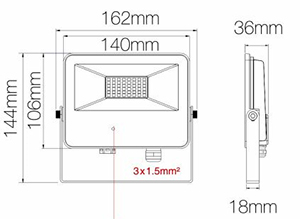 Dimensions projecteur BENEITO SKY Sensor 30W