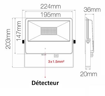 Dimensions projecteur BENEITO SKY Sensor 50W