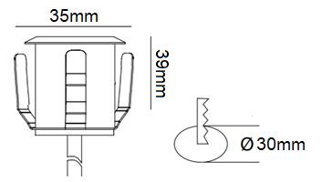Dimensions spot encastré LUMIHOME DEC/KITSOL-6ET
