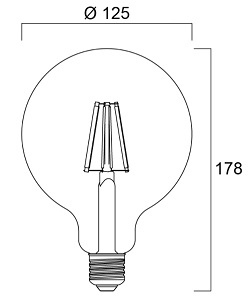 Dimensions ampoule SYLVANIA TOLEDO RT G125