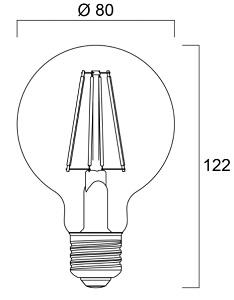 Dimensions ampoule SYLVANIA TOLEDO RT G80