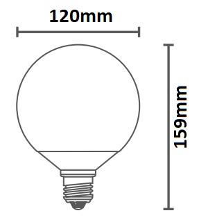 Dimensions ampoule DURALAMP GLOBO 120