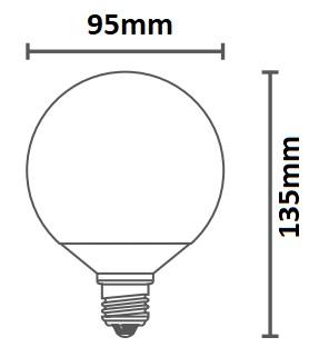 Dimensions ampoule DURALAMP GLOBO 95