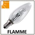 Ampoules flammes halogènes E14,E27 et B22